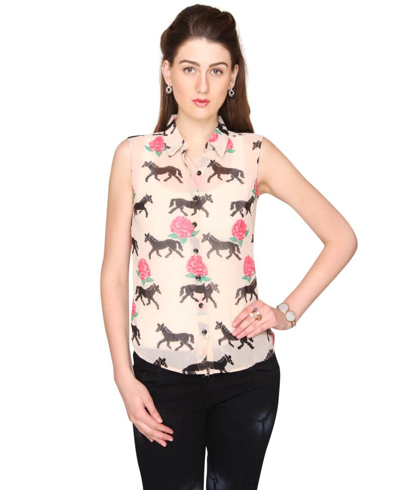 Bedazzle White Animal Printed Shirt