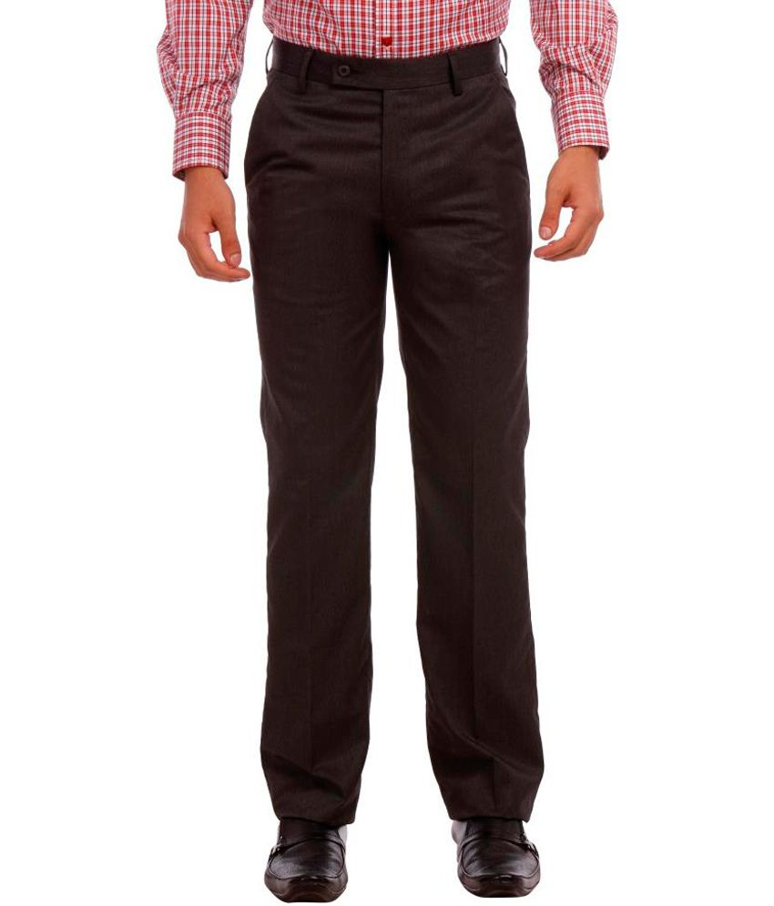 LEO Gray Poly Viscose Formal Trouser