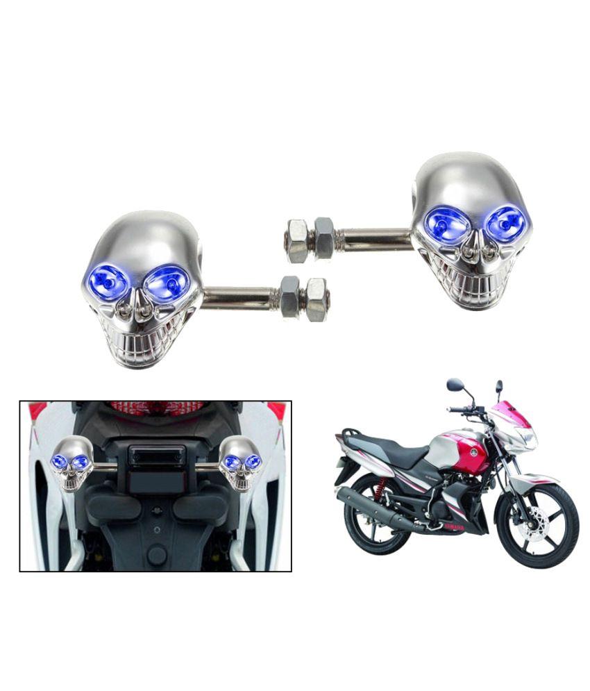Speedwav Blue LED Chrome Skull Bike Indicators For Yamaha Gladiator (Set Of  2)  Buy Speedwav Blue LED Chrome Skull Bike Indicators For Yamaha Gladiator  (Set ... 699629df877