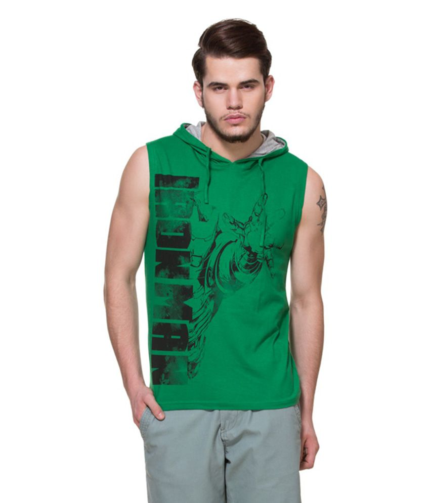 Zovi Green Printed Hooded T-shirt