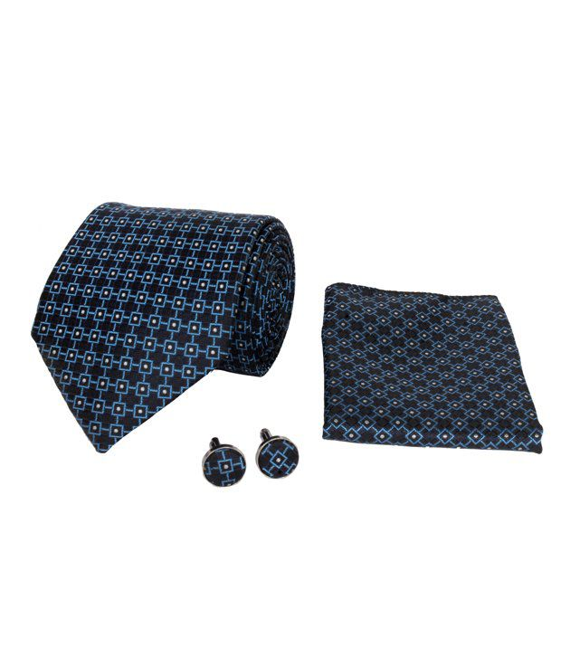CorpWed Blue Micro Fiber Geometrical Broad Tie