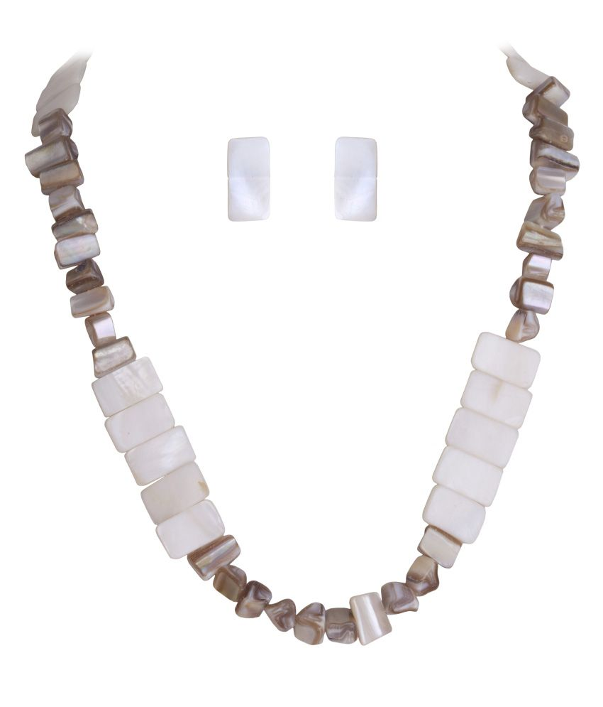 DDPearls statement Mother of pearls chips shape necklace set for women