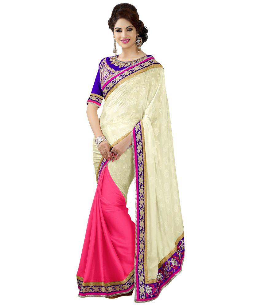 Dks Designer Pink Pure Georgette Saree
