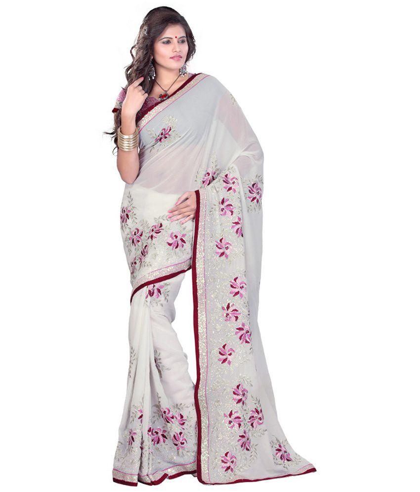 Dks Designer White Cotton Saree