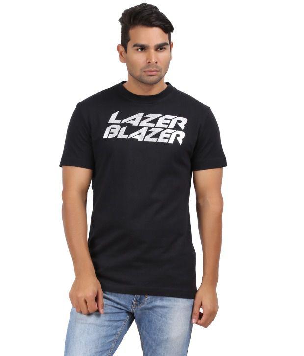 Kite Black Printed Round Neck Half Sleeve T-shirt