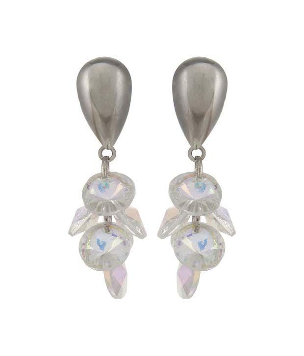 Lazreena Silver Style Diva Brass & Copper Drops Push Back Earring For Women