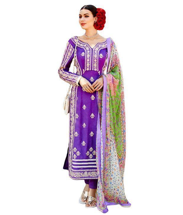 Nagini Creation Purple Georgette Unstitched Dress Material
