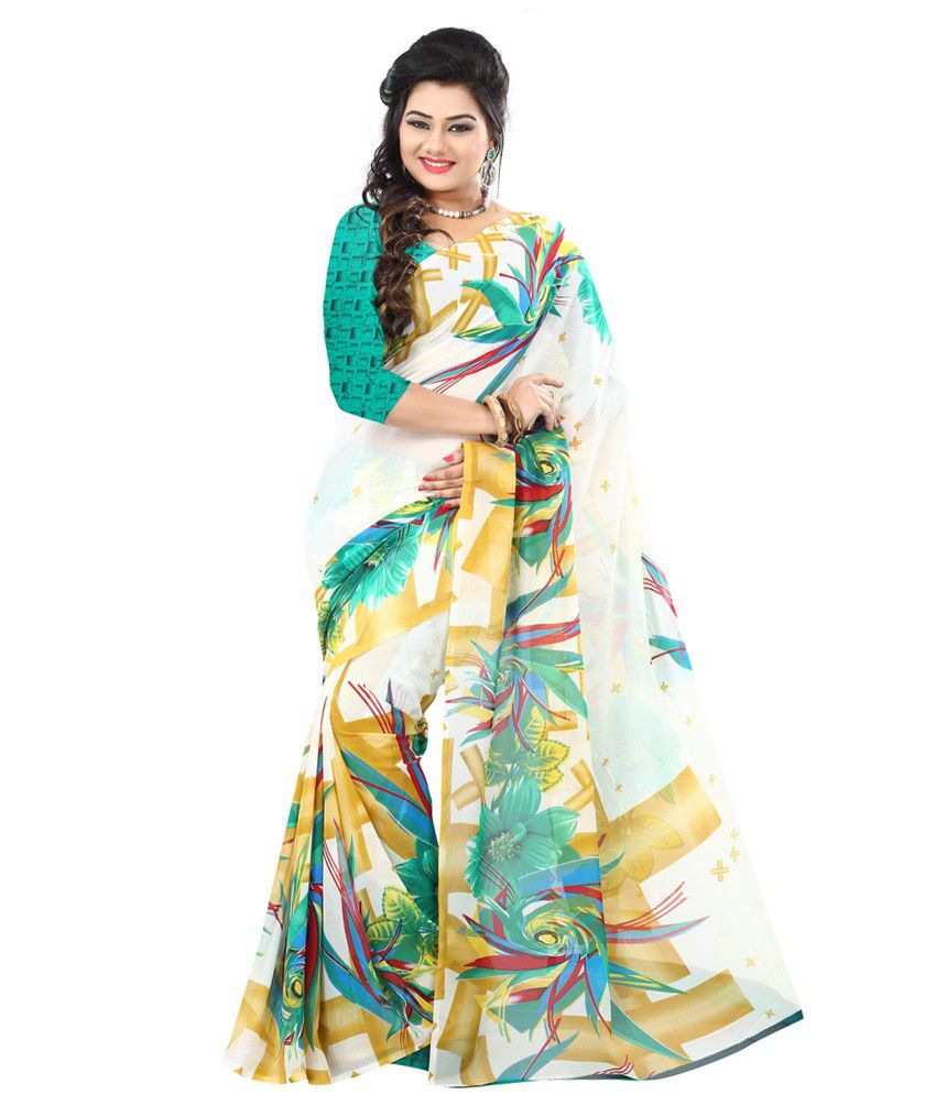 Indian House White Faux Georgette Saree