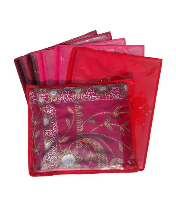 Kuber Industries Red Zip Saree Covers For Women - Set of 6