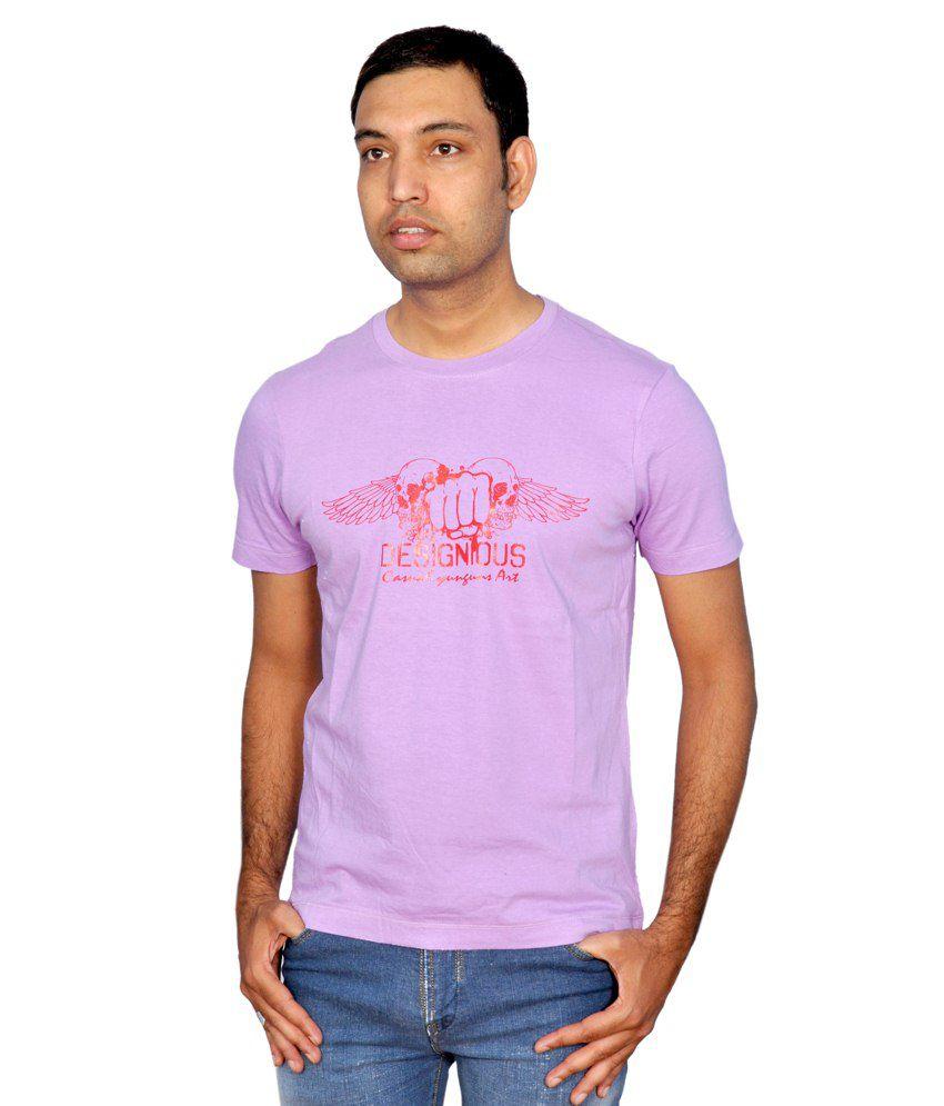 Yunguns Purple Cotton Round Neck T Shirt