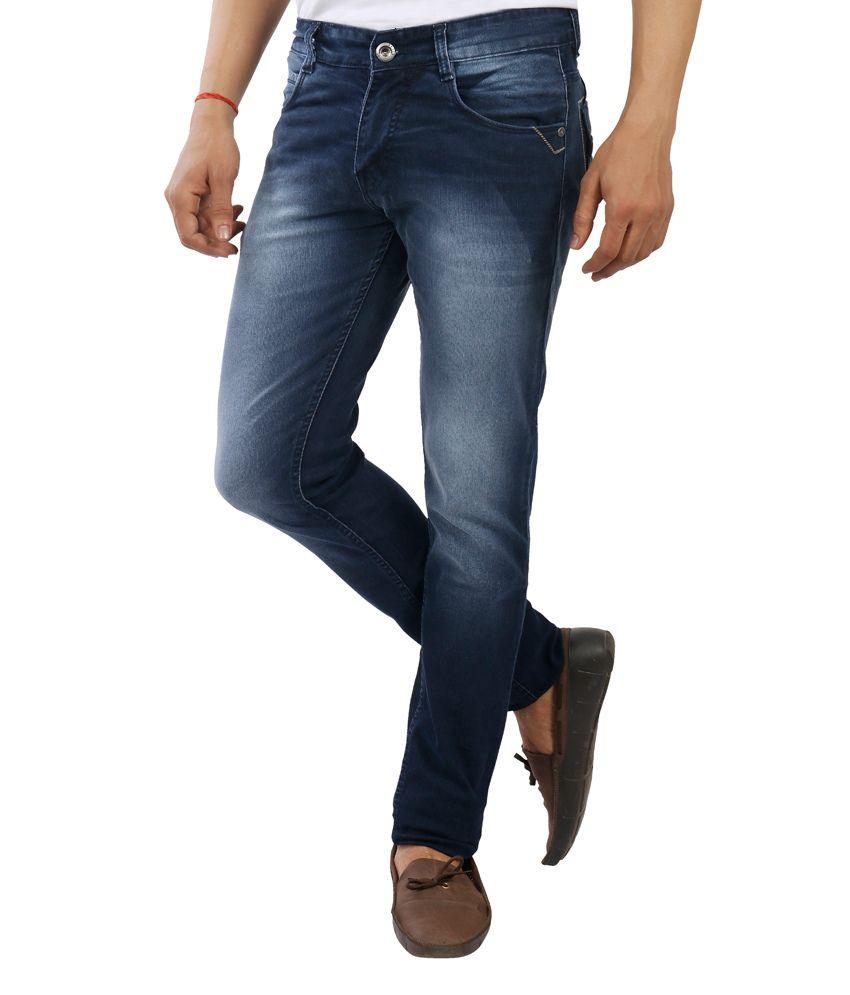 Devis Blue Cotton Skinny Fit Jeans