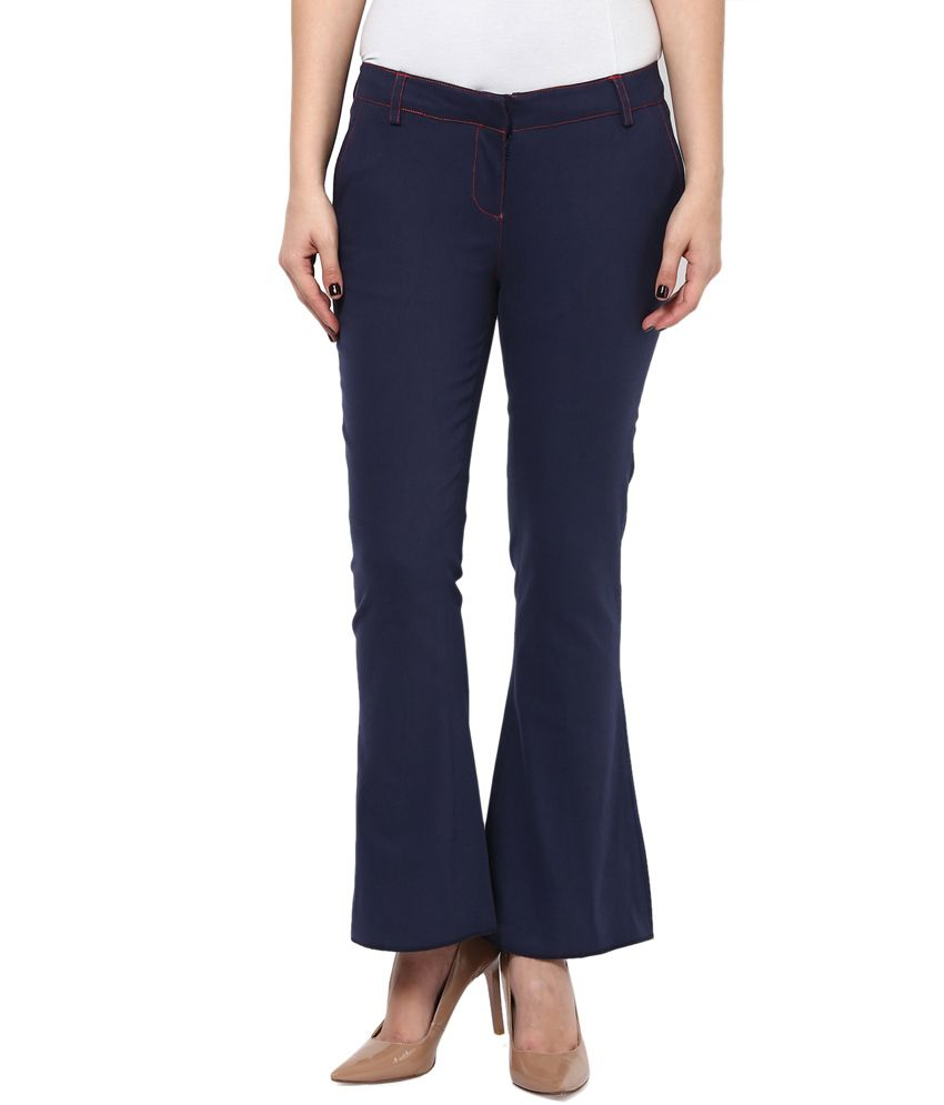 b18ff12ac9f Buy Kaaryah Women'S Navy Blue Skinny Fit Boot Cut Formal Trousers Online at  Best Prices in India - Snapdeal