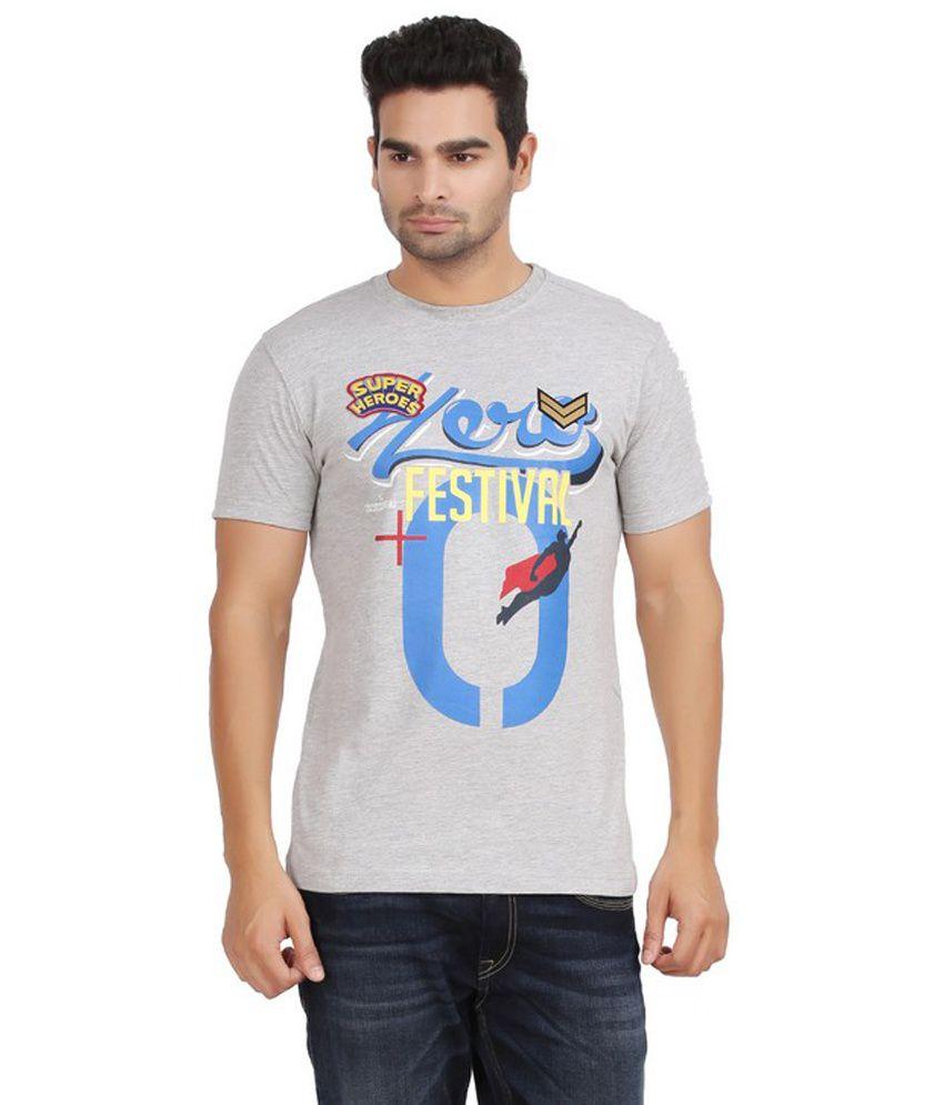 Moonwalker Gray Printed Round Neck Cotton T-shirt