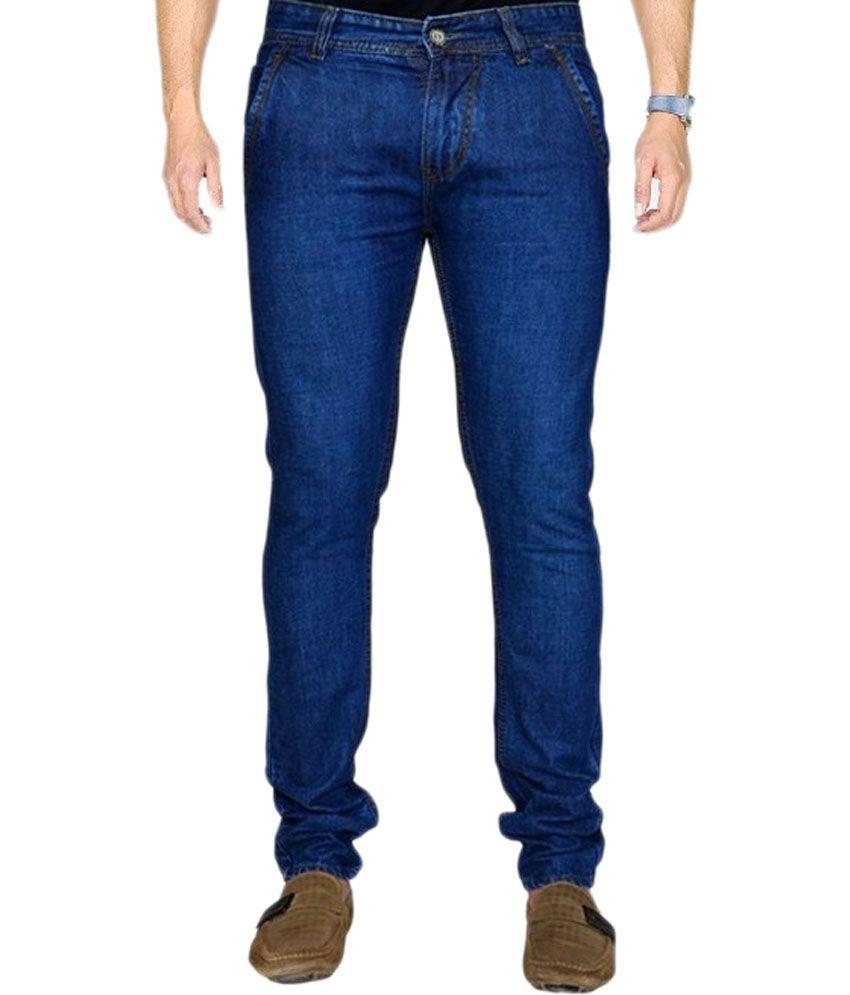 Sandy Dunes Blue Cotton Blend Slim Fit Jeans