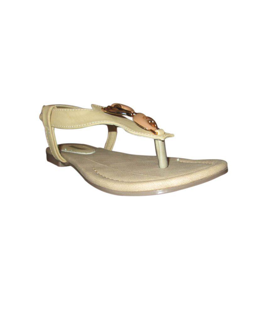 High Heels Beige Faux Leather Flat
