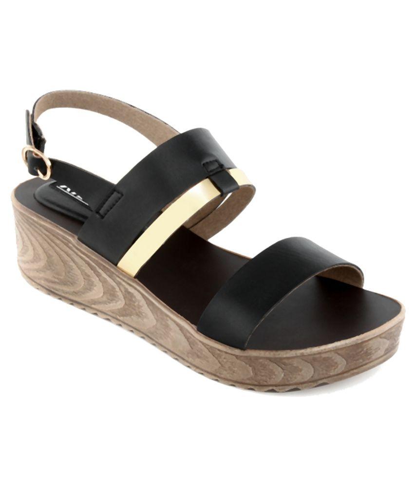 Kielz Beautiful Black Heeled Sandals
