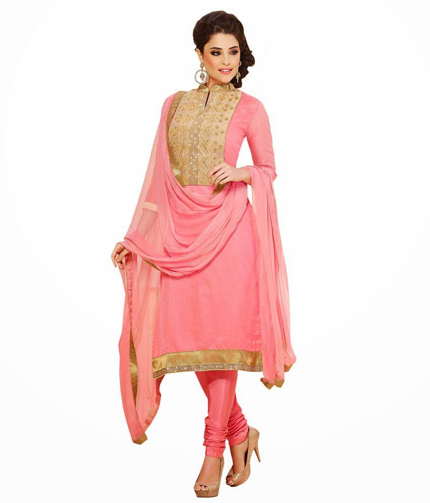 Natasha Couture Pink Art Silk Unstitched Dress Material