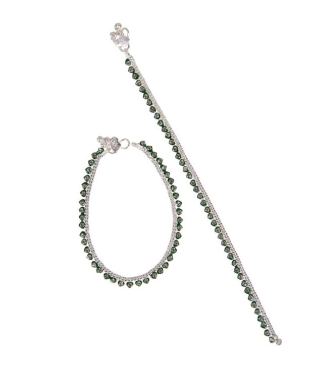 Taj Pearl Green Heart Silver Plated Anklets