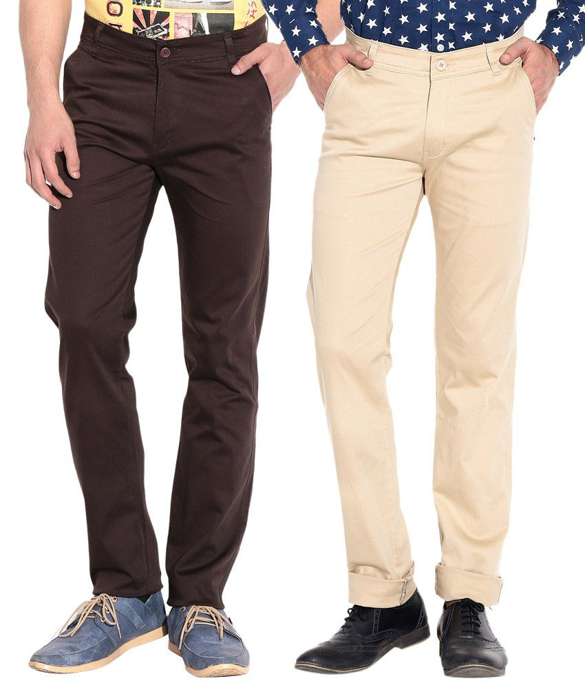 Coaster Smart Beige Stretchable Chinos (Pack of 2)