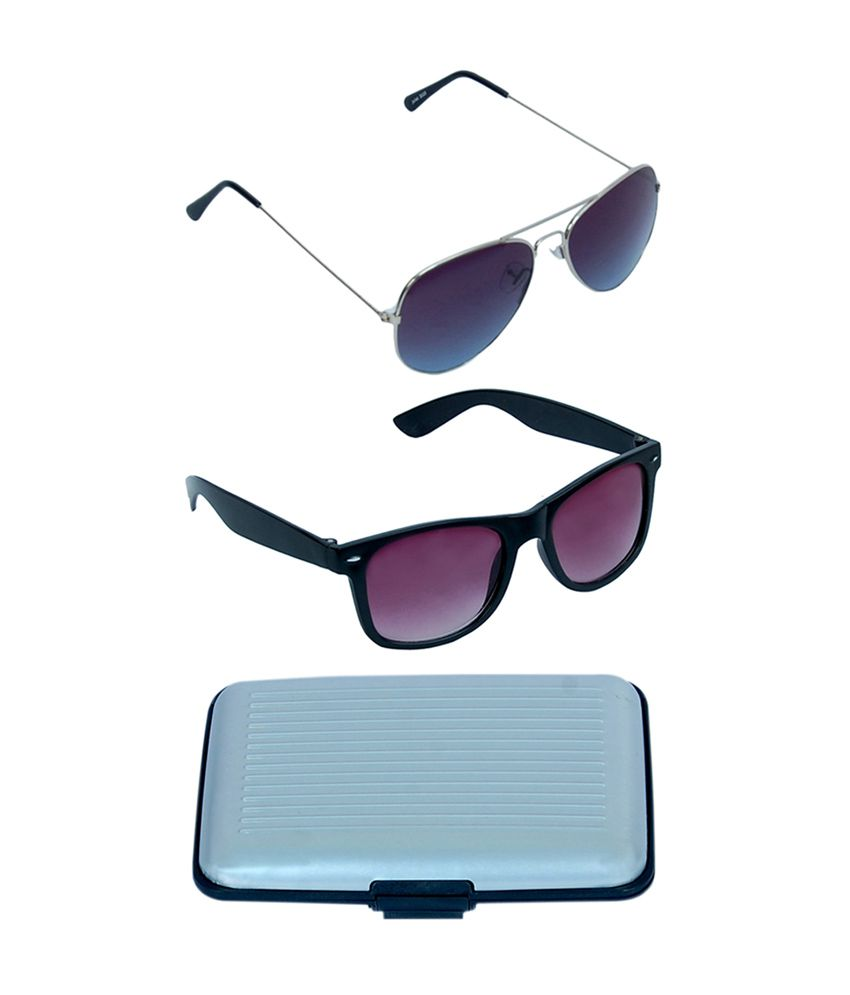 Kvell Be Proud Exclusive Combo of Assorted Card Holder, Silver Blue Lens Aviator (KS-007) & Purple Wayfarer (KS-011)