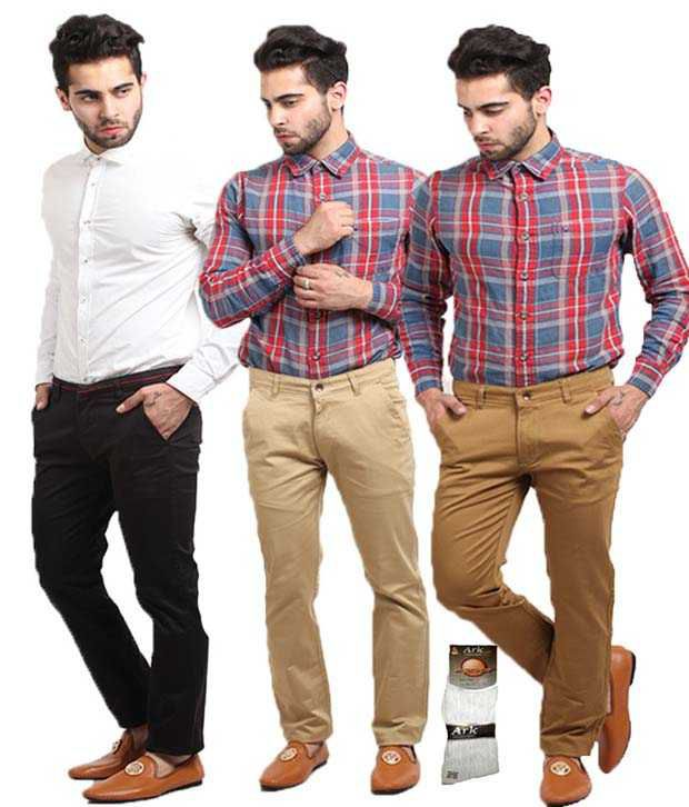 Q-nine Multicolour Cotton Regular Fit Chinos - Combo Of 3 Pcs with 1 Pair Of Socks