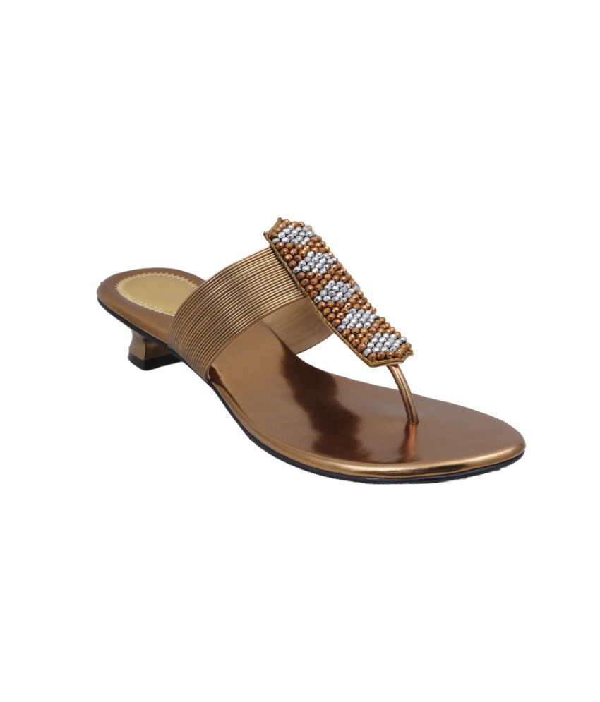 4e3add45cb23 Shoe Maker Women s Partywear Golden Sandals Price in India- Buy Shoe Maker Women s  Partywear Golden Sandals Online at Snapdeal