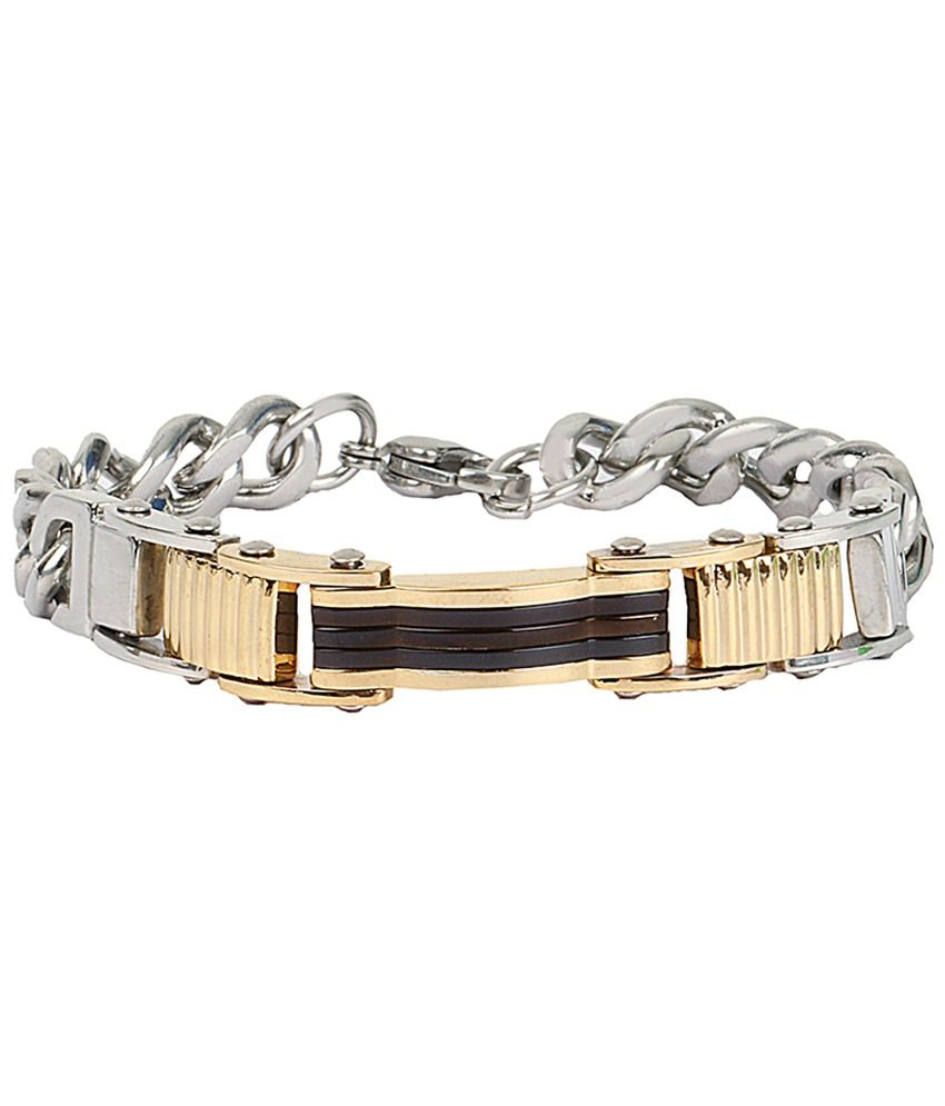 The Jewelbox Golden & Silver Stainless Steel Bracelet