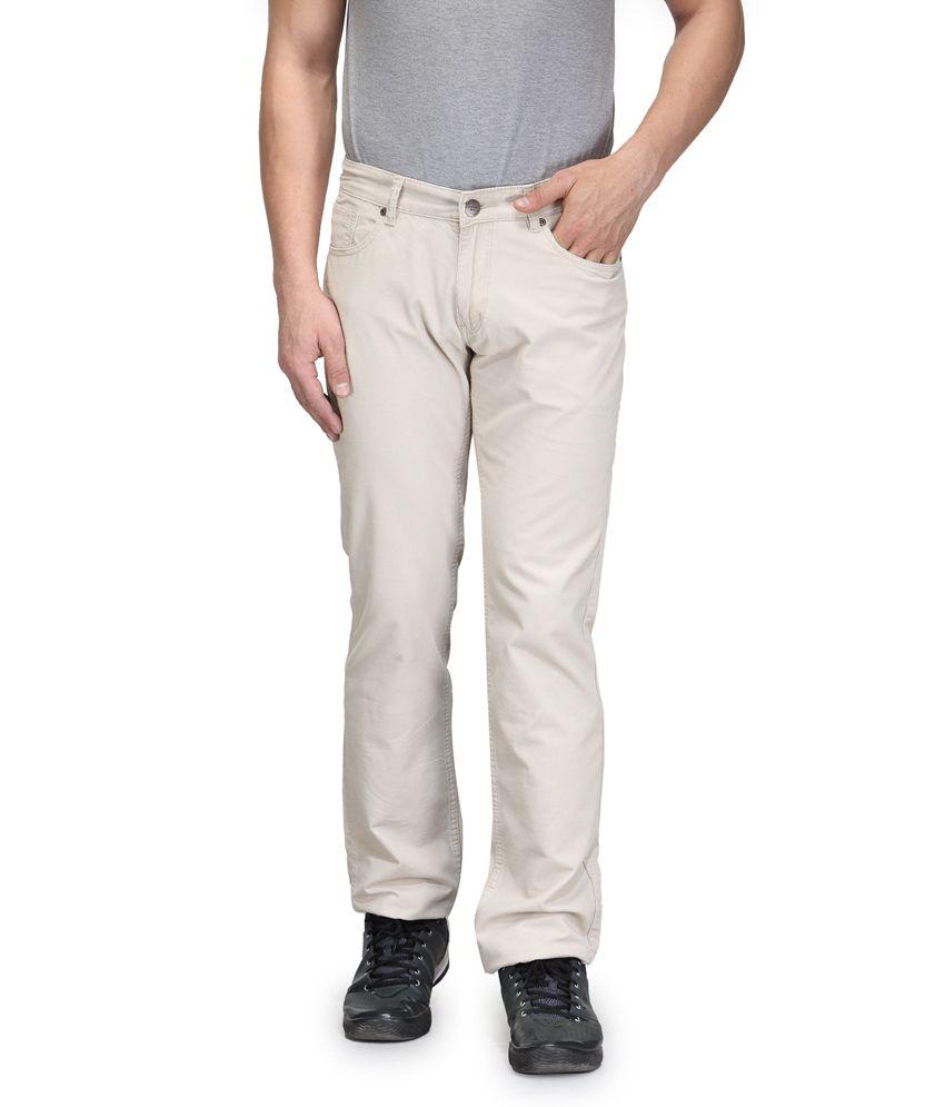 Vintage Beige Cotton Basics Tapered Denim jeans