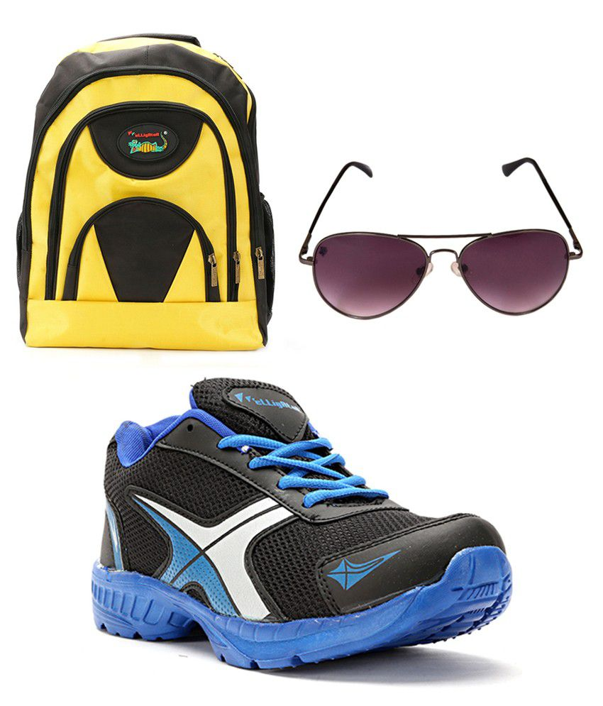 Elligator Blue Lace Sports Shoes With Sunglass And Bag Combo