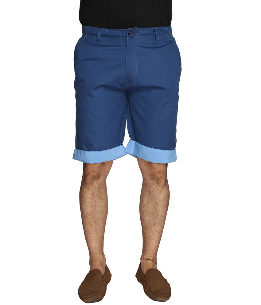 Ld Active Navy Cotton Solid Shorts