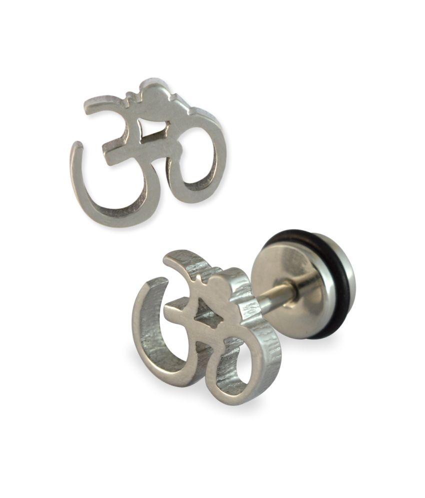 Om Men S Stud Earring Silver