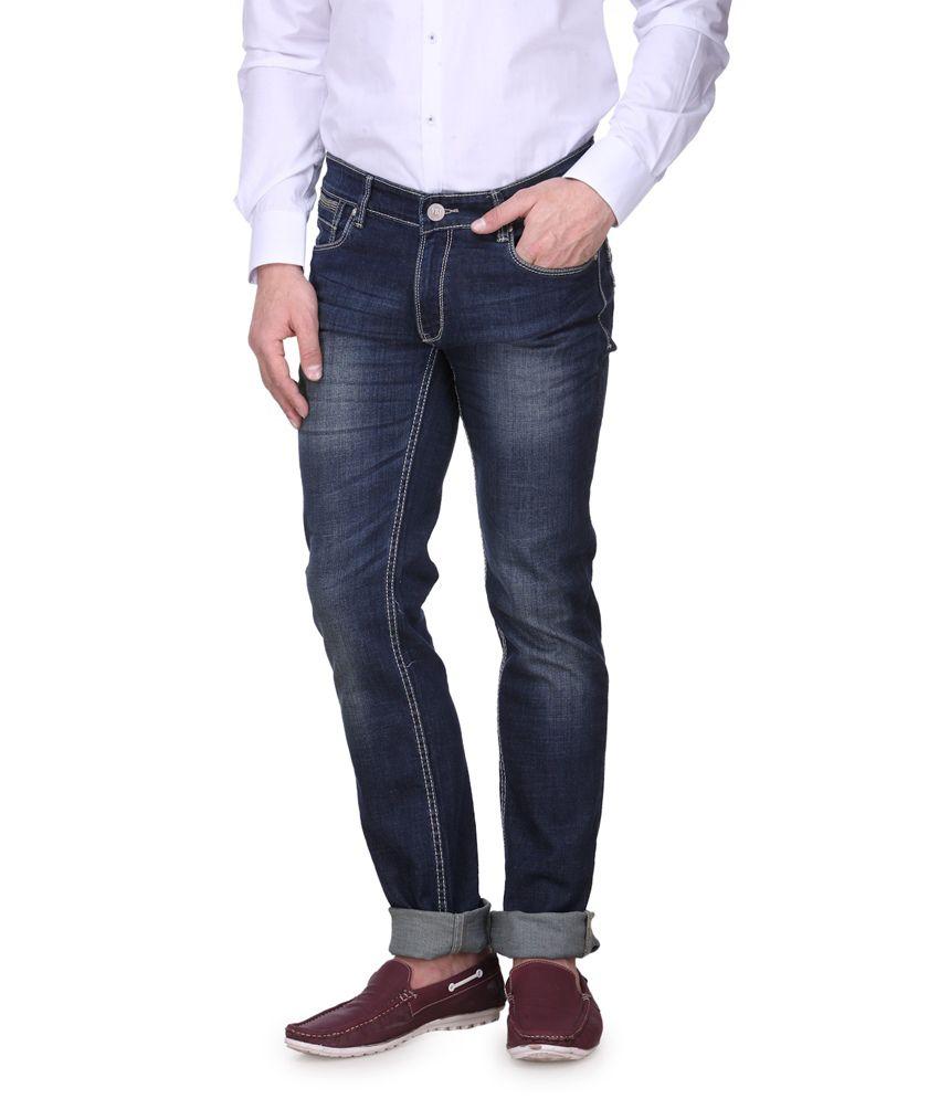 Vintage Blue Cotton Faded Tapered Denim jeans