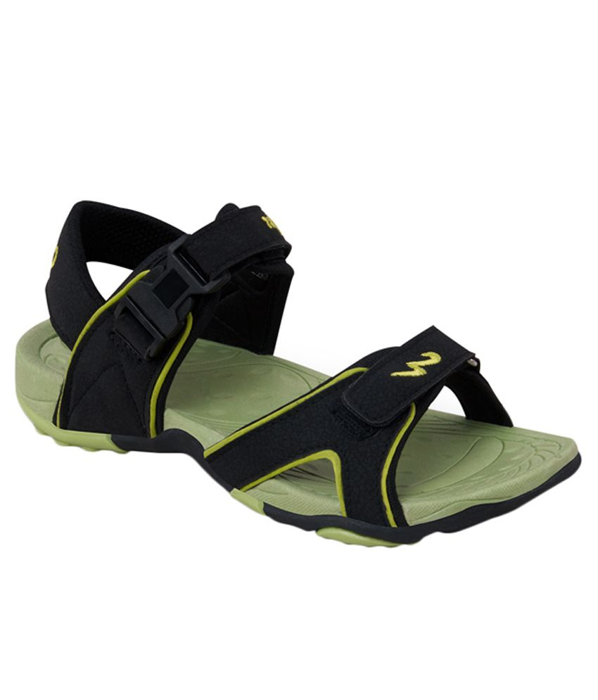 Campus Black Synthetic Leather Daily Wear Sandals