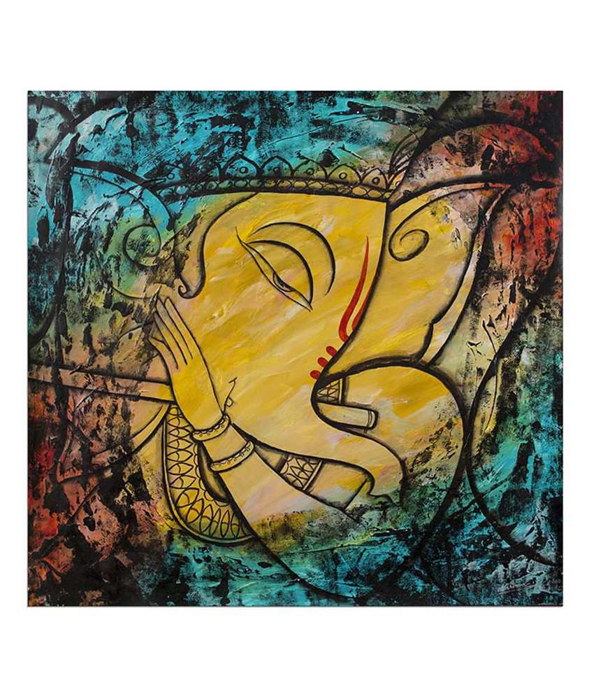 Painting Mantra Ganesha with flute Painting Canvas Print Wall ...