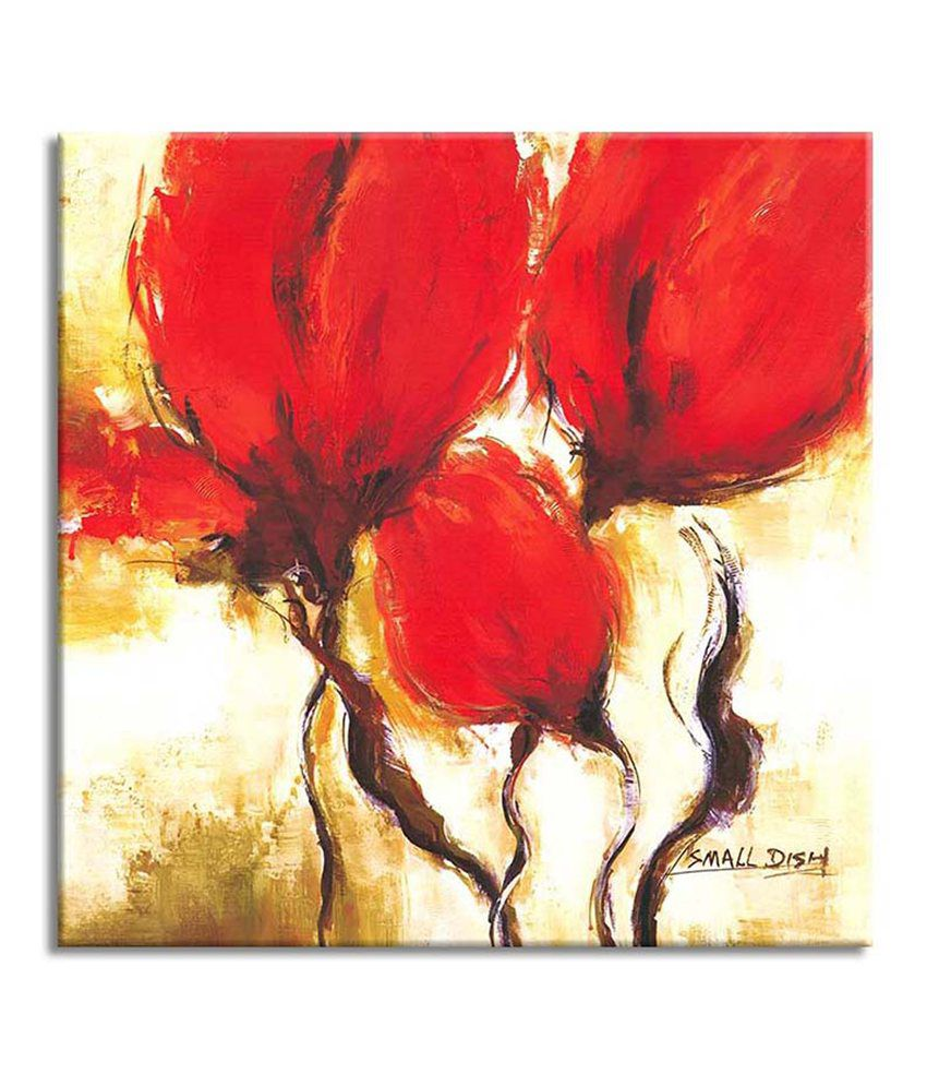 Painting Mantra Red Flower Bud Painting Canvas Print Wall Hanging
