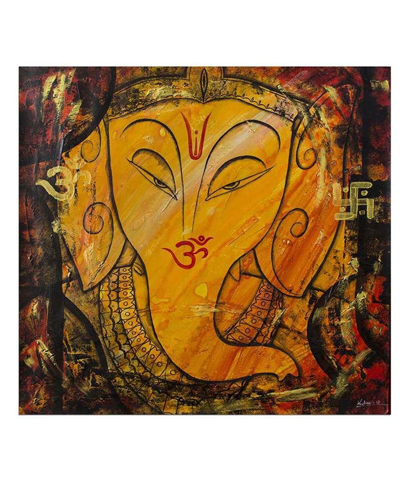 Painting Mantra Shree Ganesha Painting Canvas Print Wall Hanging