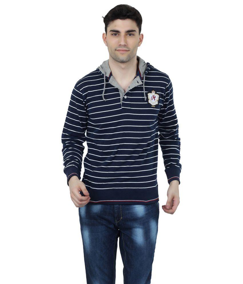 Aliep Navy Cotton Striped Regular Fit T-shirt For Men
