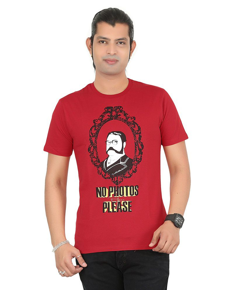 Blunder Red Cotton Round Neck T Shirt