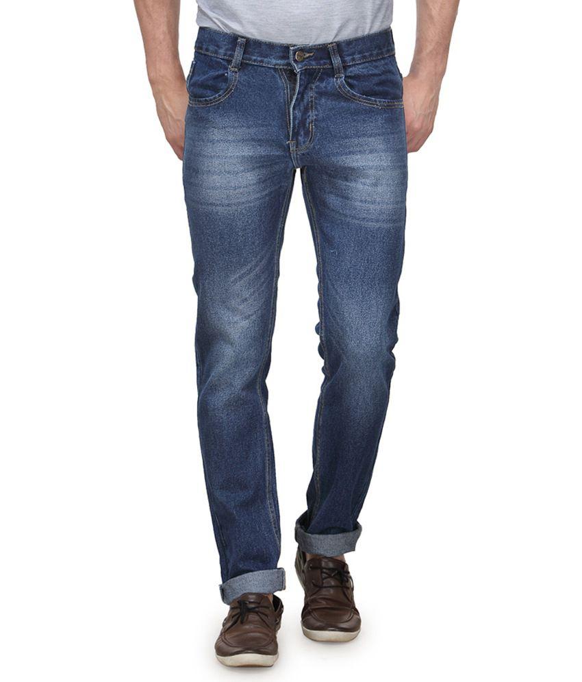 Randier Blue Cotton Regular Fit Dashing Jeans