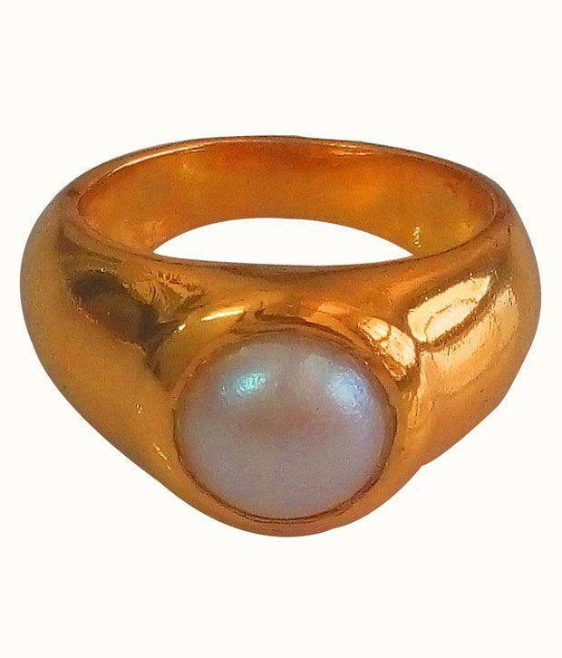 Anmol Ratna Certified Fresh Water Pearl / Moti 6.25 Ratti Gemstone 24K Gold Plated Finger Ring In Asht Dhaatu