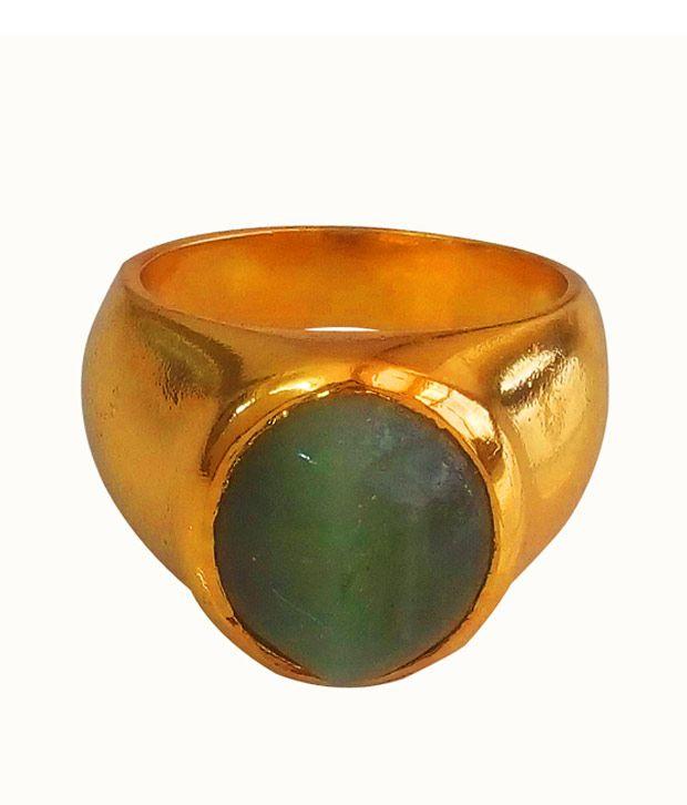 Anmol Ratna Certified Natural Cats Eye / Lehsuniya 12.25 Ratti Gemstone 24K Gold Plated Finger Ring In Asht Dhaatu