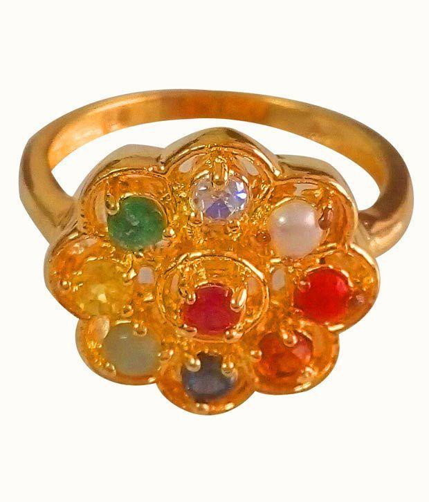 Anmol Ratna Certified Natural Navratna Gemstone 24K Gold Plated Finger Ring In Asht Dhaatu,Totalstone Wt 2.25 Ratti