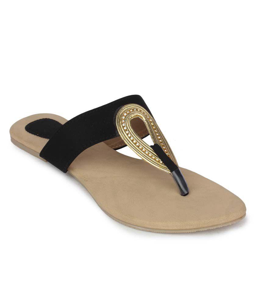 Aris Mart Black Faux Leather Back Open Open Toe Flat Slip-On