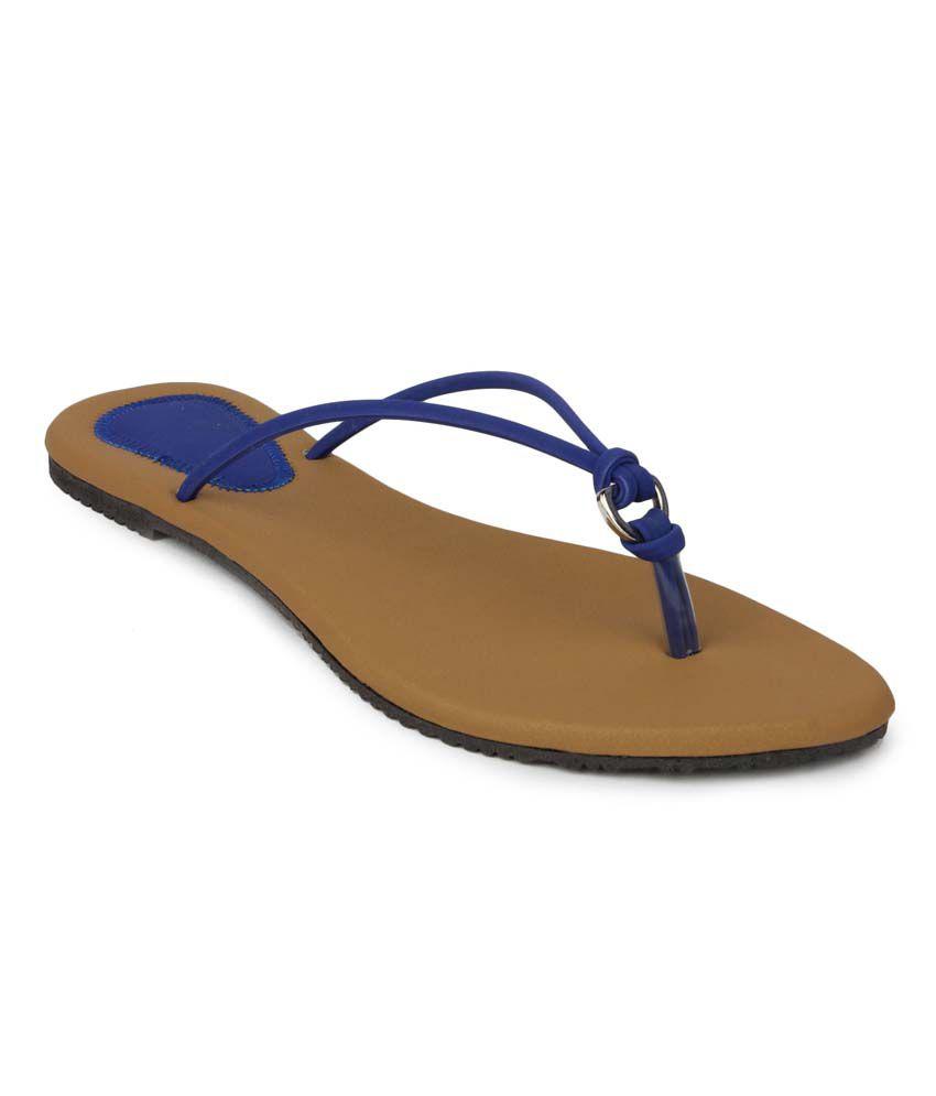 Aris Mart Blue Faux Leather Back Open Open Toe Flat Slip-On