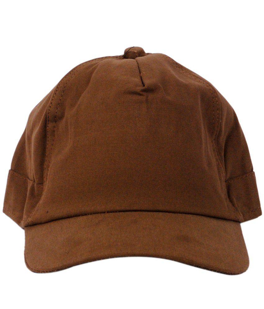 Macrobian Brown Cotton Baseball Cap For Men