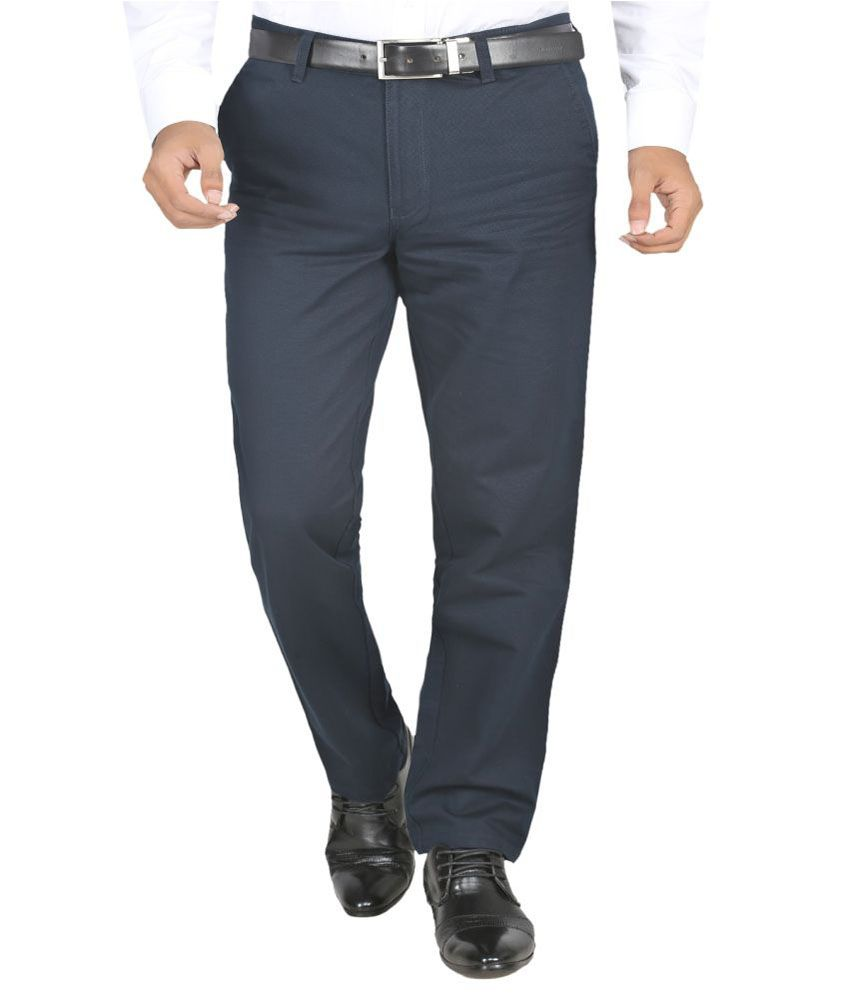 Aroa Dark Blue Cotton Lycra Slim Fit Casual Trouser