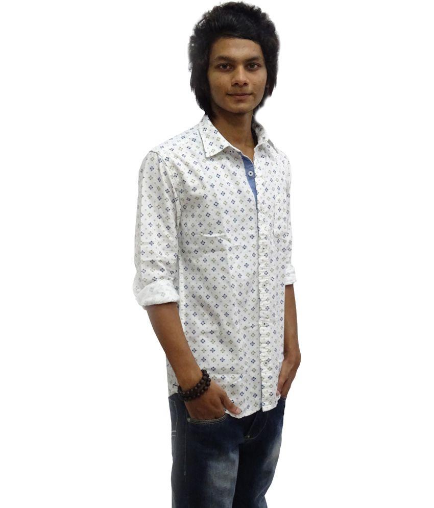 3c23de8b1a Zara Man White Printed Cotton Full Sleeve Casual Shirt - Buy Zara Man White  Printed Cotton Full Sleeve Casual Shirt Online at Best Prices in India on  ...