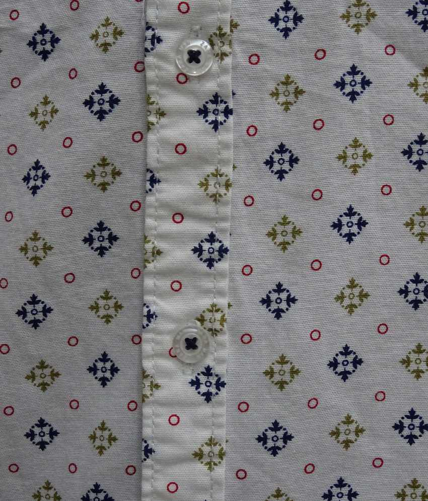 c95e7449ec Zara Man White Printed Cotton Full Sleeve Casual Shirt - Buy Zara ...