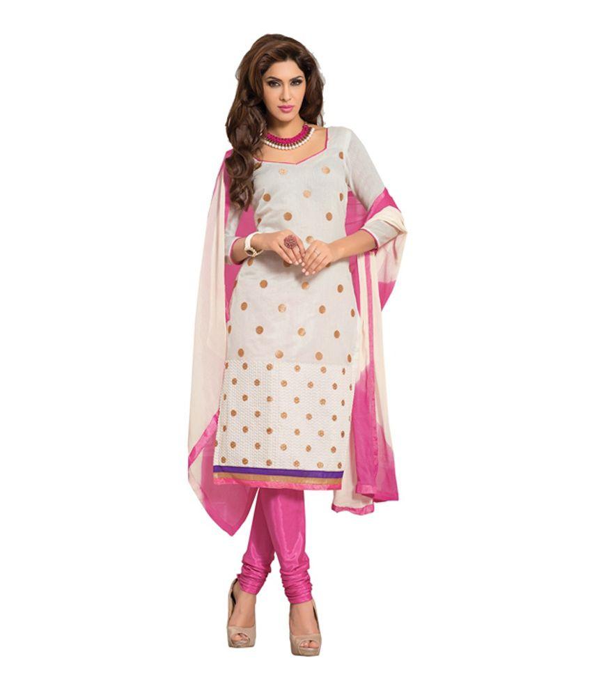 Ambaji White Chanderi Unstitched Dress Material