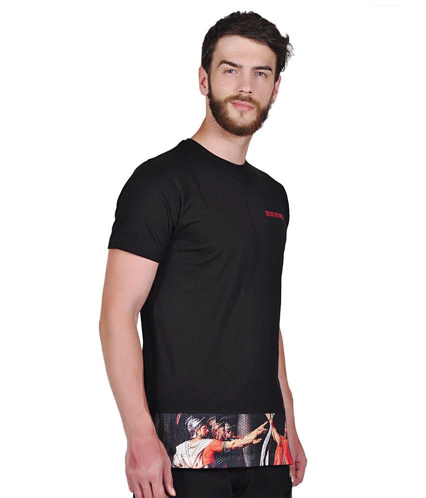 Black t shirt low price - Blended Black Roman Warrior Side Zip Long Line T Shirt